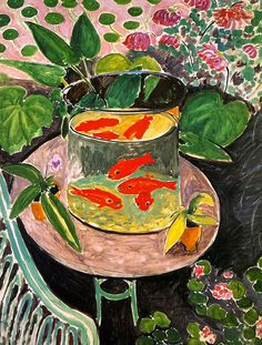 "From around 1912, goldfish became a recurring subject in the work of Henri Matisse. They appear in no less than nine of his paintings, as well as in his drawings and prints. Goldfish, 1912 belongs to a series that Matisse produced between spring and early summer 1912. (khanacademy.com) (""The Goldfish"" by Henri Matisse)"