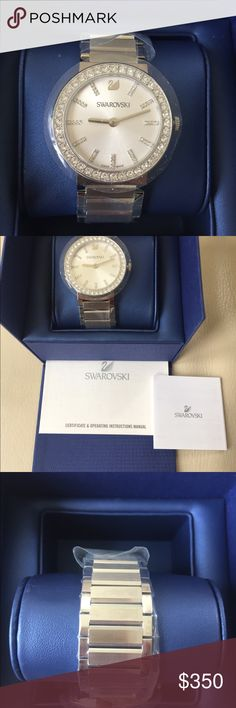 Swarovski Watch! Beautiful Swarovski Watch with diamond accents around and in the Watch! Elegant must have! In original plastic wrapping. Comes with original Swarovski gift bag. Retails $499 + taxes. Made in Switzerland. Swarovski Accessories Watches