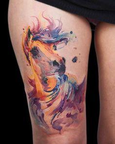 Watercolor Horse Tattoo by Bori Falvay Tattoo Life, Tattoo Buch, Lion Tattoo, New School Tattoos, Horse Tattoo Design, Tattoo Design Drawings, Tattoo Horse, Sketch Tattoo, Tatoo