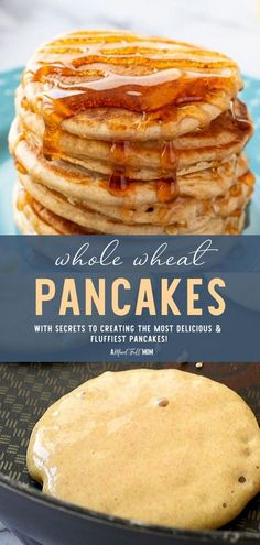 Learn a few trade secrets that make these light and fluffy Whole Wheat Pancakes the best! Made a bit healthier with 100% whole grain, this easy recipe is everything a good pancake should be. Save time and whip up an extra batch to freeze for a quick weekday breakfast! Best Brunch Recipes, Delicious Breakfast Recipes, Vegan Recipes Easy, Yummy Food, Tasty, Brunch Dishes, Breakfast Dishes, Breakfast Ideas, Easy Family Meals
