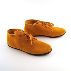Keds Mustard Boots Vintage 1980s Lace Up Flat Yellow Suede Booties