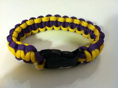 Para cord braided bracelet, Two-Toned, purple/yellow, 9.5 in (P025) on Etsy, $10.00