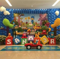 Fiesta Pocoyo                                                                                                                                                      Más First Birthday Themes, 1st Boy Birthday, 3rd Birthday Parties, Birthday Bash, Birthday Party Decorations, Ideas Bautizo, 1st Birthdays, Alice, Baby Party