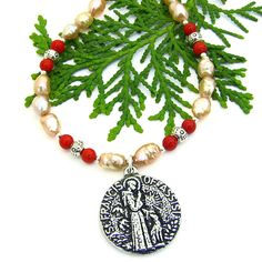 St Francis and Dog Necklace, Rice Krispie Pearls Red Coral Pewter Handmade Jewelry for Women #LallaGatta via @LallaGatta