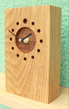 Tall Oblong Oak Mantel Clock