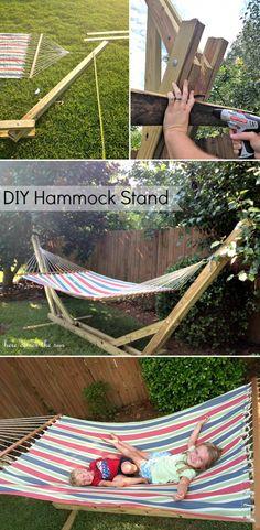 Wenn man keine Bäume im Garten hat dann kann man eine Hängematte auch an einem selbstgebautem Gestell aufhängen. Noch mehr Ideen gibt es auf www.Spaaz.de