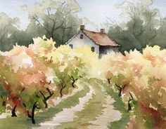 "Vineyard Art Print - ""vine house"" - California watercolor painting - signed by artist DJ Rogers - wall decor - Title: ""vine house"" Artist: David J. Rogers Medium: Giclee print When you drive the roads of Napa w - Watercolor Landscape, Watercolour Painting, Painting & Drawing, Landscape Paintings, Simple Watercolor, Watercolor Trees, Watercolor Artists, Watercolor Portraits, Painting Abstract"