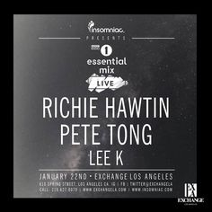 Insomniac Events are proud to present BBC Radio 1 Essential Mix Live with Richie Hawtin and Pete Tong at Exchange LA. Tickets are now on sale! Pete Tong, Insomniac Events, Bbc Radio 1, My Fb, New Music, Dj, Check