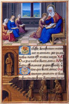 Jean Poyer | St. Anne: Anne Instructing the Virgin | Border: Presentation of the Virgin in the Temple | Hours of Henry VIII, in Latin | France, Tours | ca. 1500 | The Morgan Library & Museum