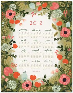 Rifle Paper Co. Garden Print Calendar - time to buy new calendars! 2012 Calendar, Print Calendar, Calendar Design, Rifle Paper Company, Document, Paper Goods, Print Patterns, Stationery, Colors