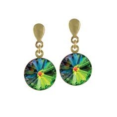 Rivoli Vitrail Swarovski Crystal Gold Drop Clip On Earrings