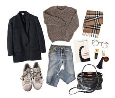 """Melancholy time"" by sasha-true on Polyvore featuring мода, A.P.C., Yves Saint Laurent, Fendi, adidas и Burberry"