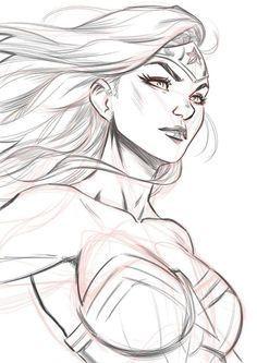 Wonder Woman Drawing, Wonder Woman Art, Wonder Women, Comic Book Drawing, Comic Books Art, Comic Art, Drawing Superheroes, Marvel Drawings, Girl Drawing Sketches