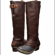 Sorel slim pack riding boots - nutmeg color BSOREL slimpack riding boots nutmeg color,  minor scratch on the leather ( see pic) no box, no tag.  Only worn once SOREL Shoes Winter & Rain Boots