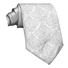White Black Elegant Damask Tie