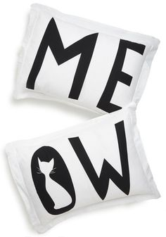I Speak Cat Pillowcase Set. Have purr-fect dreams every night by resting your head upon these cat-themed pillowcases! #whiteNaN