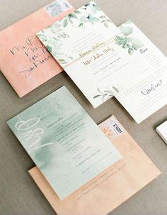 Featured Photographer: Aaron Delesie; Elegant green and peach wedding invitation idea