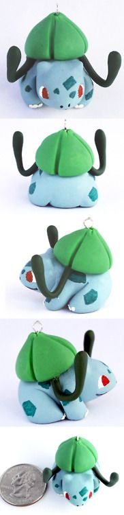 Little Bulbasaur charm requested by my fiance. Polymer clay.