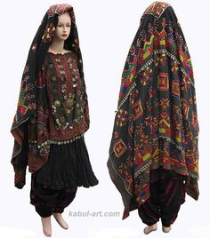 antique Vintage afghanistan nomadic Kuchi ethnic traditional dress costume nuristan.
