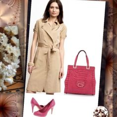 Banana Republic Tan Safari Trench Coat Trenchdress