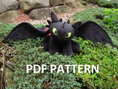 ***THIS LISTING IS NOT FOR A FINISHED PLUSH. THIS IS FOR A PATTERN AND INSTRUCTIONS *** Do you know the basics of sewing 3D animals or plush and always wanted to make a Toothless? This pattern includes all the pieces necessary to make your own 14 tall, 22 long Night Fury with over a 33