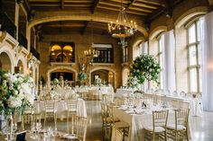 Classic white and green wedding in Mount Stephen Hall at Fairmont Banff Springs Hotel Canadian Wedding Venues, Hotel Wedding Venues, Wedding Reception, Green Wedding, Spring Wedding, Wedding Colors, Gold Wedding, Greenery Centerpiece, Centerpieces