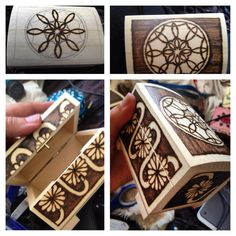 Final pyrography box finished. My hands ache. I've got a horrible burn on my leg from walking into the pyrography rod. But I'm finished! Yay!!
