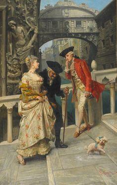 "♥ ""Lovers and Chaperone Meeting on the Venetian Canal"" → Giacomo Mantegazza - Pintor Italiano."
