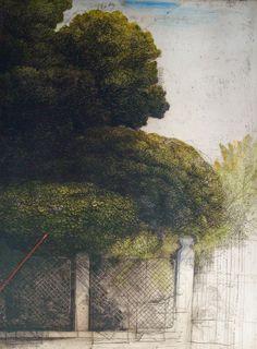 Safet Zec (b 1943, Bosnian) - Casa e cancello, 1994, watercoloured etching