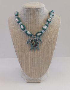 Turquoise Bead Necklace with Abalone Turtle Pendant
