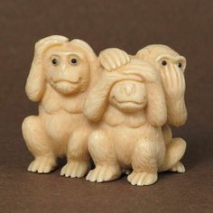 Antique Japanese Netsuke Three Wise Monkeys Carving N3968 | eBay