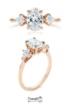 14k Rose Gold Three Stone Kite Diamond Engagement Ring