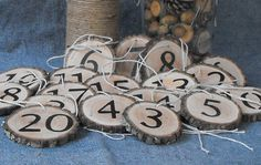 10 Rustic Wood Slice Table Numbers/Rustic Wood Slice Numbers/Party Numbers Decoration/Woodland wedding Table numbers - pinned by pin4etsy.com