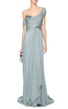 Embroidered One-Shoulder Chiffon Gown by Marchesa Now Available on Moda Operandi