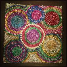 Mardi Gras bead canvas.  Made it!