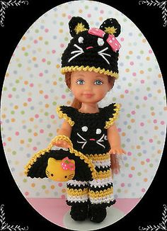 """Crochet Doll Clothes Kitty Bee for 4 ½"""" Kelly Same Sized Dolls 