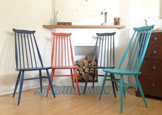 Set of 4 Ercol Goldsmith Dining Chairs, Upcycled Vintage