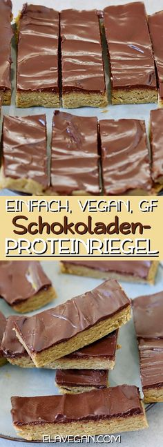 These no-bake chocolate protein bars are super soft, gooey, fudgy, and delicious. This vegan recipe contains only 6 ingredients and is very easy to make! Watch the video below to see the easy instruction steps! Source by elavegan Chocolate Protein Bars, Vegan Protein Bars, Vegan Bar, Protein Bar Recipes, Protein Cake, Protein Snacks, Chocolate Recipes, Protein Muffins, Protein Cookies