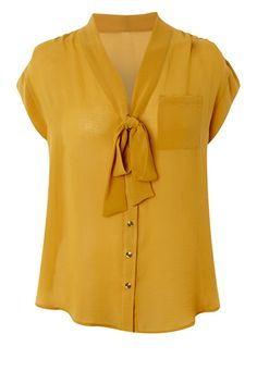 <3 mustard shirt with neck bow <3