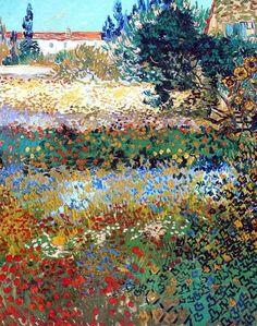 Flower field painting, Vincent Van Gogh - Post Impressionism - Arles - Jardin en fleurs