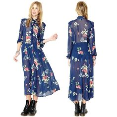 2014 New Vintage Retro Navy Blue Chiffon Floral Print Dress Turn Down Collar Maxi Long Sleeve - pictures, photos, images