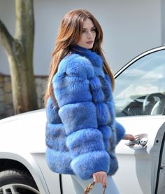 blue-dyed fox fur jacket and Long Hair