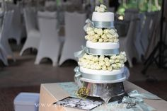 Beautiful 3 tier wedding cake with white roses. White Roses Wedding, Wedding Cake Roses, 3 Tier Wedding Cakes, Table Decorations, Weddings, Beautiful, Mariage, Wedding, Marriage