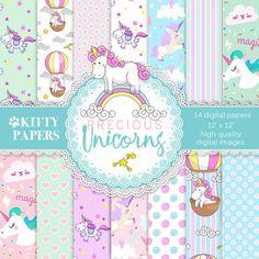 "Unicorn digital paper : ""Precious Unicorns"" unicorn digital backgrounds for scrapbooking, unicorn patterns, unicorn digital paper pack"