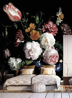 Dark floral peel and stick wallpaper Dutch flowers oil painting Wall mural Still life flowers wall art Dark flowers Dark wall mural For the Home Still Life Flowers, Dark Flowers, Floral Flowers, Hydrangea Flower, Paper Flowers, Oil Painting Flowers, Painting Walls, Painting Art, Space Painting