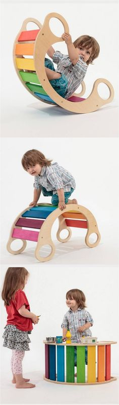 "The rainbow rocker is a ""play furniture"" with lots of different ways to enjoy. Babies can be rocked softly, then turned around it can quickly become a tunnel to crawl through. Small kids can. Projects For Kids, Diy For Kids, Wood Projects, Woodworking For Kids, Woodworking Projects, Baby Kind, Wood Toys, Diy Toys, Kids Furniture"
