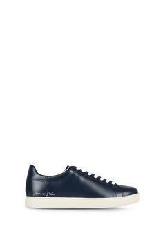 Armani Schuhe Für Ihn flache sneakers aus leder Emporio Armani, Armani Jeans, Sneakers, Fashion, Men, Shoe, Leather, Tennis, Moda