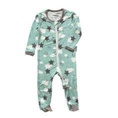 Bamboo Footies with Easy Dressing Zipper – Shady Mint Star