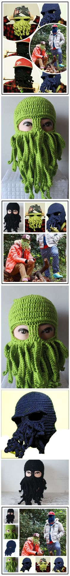 Unisex Halloween novelty Funny keep warm Knitted Octopus Mask Cap SKU:  FM10035 Price: $9.99