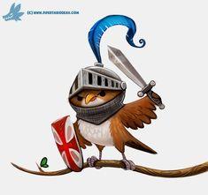 Daily Paint #1170. Knightingale  by Cryptid-Creations   #DigitalArt #DrawingsPaintings #Animals